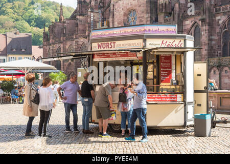 Wurst Stall in Freiburg Cathedral Square, Freiburg im Breisgau, Germany, Europe - Stock Image