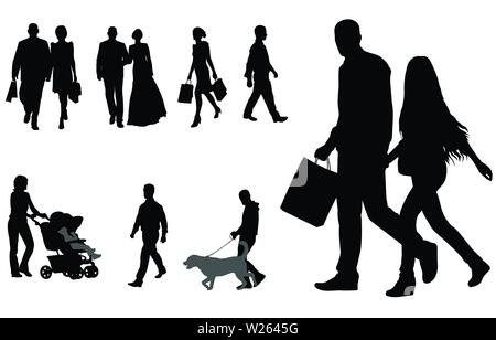people walking silhouettes collection - vector - Stock Image
