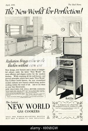 1939 UK Magazine New World Gas Cookers Advert - Stock Image