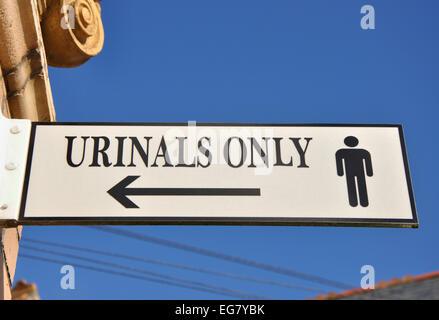Urinals only sign, Ilfracombe, Devon, England, UK - Stock Image