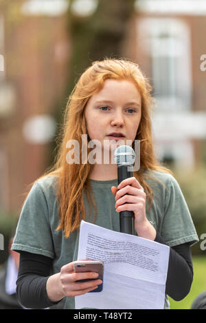 Bella Lack speaking at a stop trophy hunting and ivory trade protest rally, London, UK. Youth ambassador for The Born Free Foundation - Stock Image