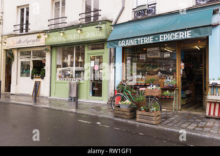Paris shops on Place d'Aligre in the 12th arrondissement. France. - Stock Image
