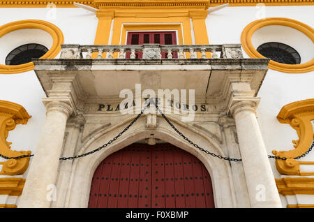 Detail of the outside of Seville Bullring, Seville, Andalucia, Spain, Europe. - Stock Image
