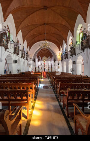 Vertical view inside St. Thomas Cathedral in Chennai, India. - Stock Image