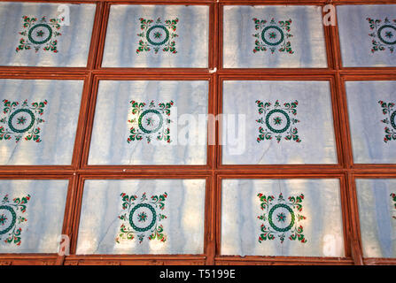 Stencilled ceiling patterns in the roof of the nave of the Church of St Nicholas at Buckenham, Norfolk, England, United Kingdom, Europe. - Stock Image