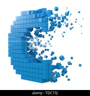 letter C shaped data block. version with blue cubes. 3d pixel style vector illustration. suitable for blockchain, technology, computer and abstract th - Stock Image