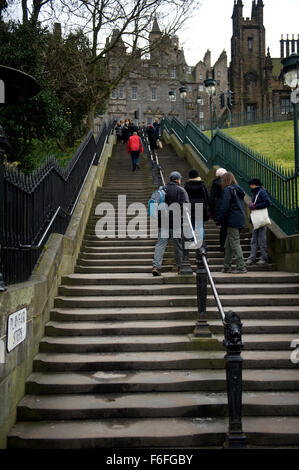 Tourists make their way up the Playfair Steps in Edinburgh so named in honour of the architect William Henry Playfair - Stock Image