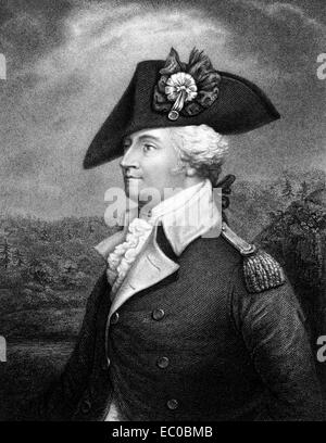 Anthony Wayne (1745-1796) on engraving from 1834.  United States Army officer and statesman. - Stock Image