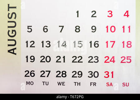 Wall Calendar August top view. Your may mark any day. Copy space for message - Stock Image