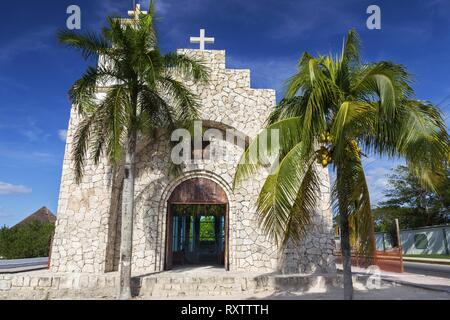 Capilla Santa Cruz Catholic Church Building Exterior on Waterfront near San Miguel Downtown on Cozumel Island, Mexico - Stock Image