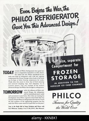 1943 U.S. Magazine Advert Philco Refrigerator Advert - Stock Image
