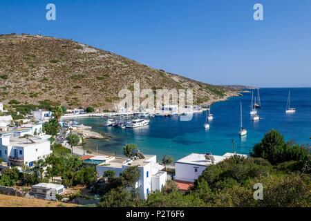 Geece, Dodecanese archipelago, Agathonisi island, Agios Georgios little harbour - Stock Image