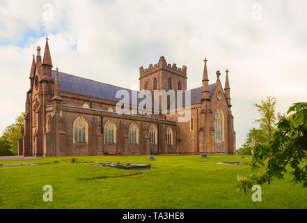The south side of St Patrick's Cathedral in the city of Armagh, County Armagh, Ulster, Northern Ireland is the seat of the Archbishop of Armagh in the - Stock Image