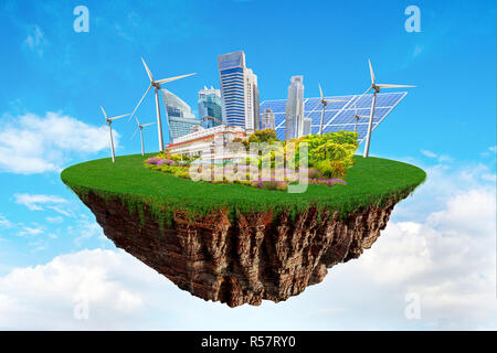 Fantasy floating island with clean nature city relying on renewable resources. Concept of sustainable ecological future and alternative energy of an e - Stock Image