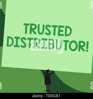 Handwriting text writing Trusted Distributor. Conceptual photo Authorized Supplier Credible Wholesale Representative Back view standing short hair wom - Stock Image