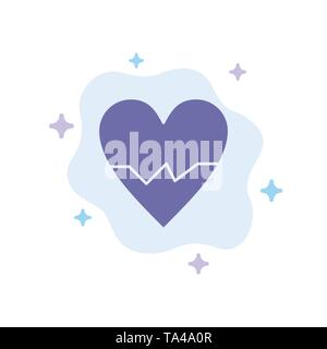 Heart, Love, Beat, Skin Blue Icon on Abstract Cloud Background - Stock Image