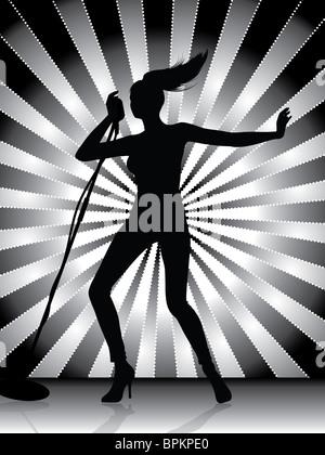 Female Singer Silhouette - Stock Image