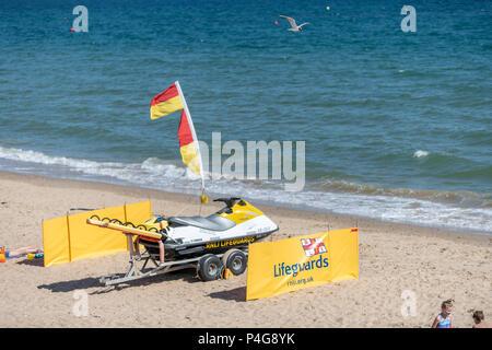 Bournemouth, UK. 22nd June 2018. UK sunny weather, RNLI jet ski parked up in Bournemouth. Thomas Faull/Alamy Live News - Stock Image