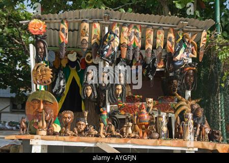 Jamaica Negril beach Rastafari Handicraft Souvenirs - Stock Image