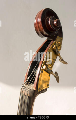 head and scroll and tuning pegs of a hand carved Double bass. - Stock Image