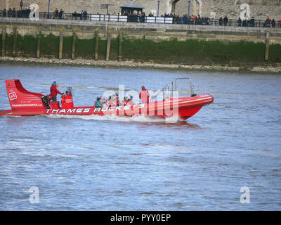 Thames Rockets powerboat on the river Thames - Stock Image