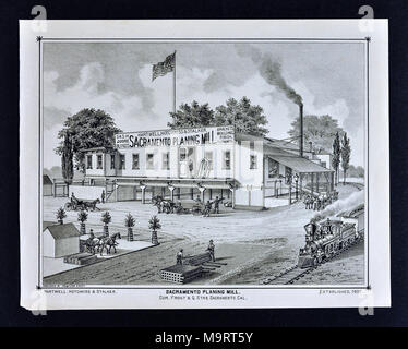 Sacramento County California - 1880 - Thompson & West Print - Sacramento Planing Mill Hartwell, Hotchkiss and Stalker - Stock Image