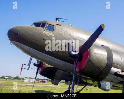 A C47 Douglas Dakota IV transport  cargo plane on display at the Yorkshire Air Museum Elvington York UK - Stock Image