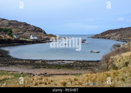 Small village of Ardheslaig on a sheltered inlet to Loch Torridon, Applecross Peninsula, Wester Ross, Highland Region, Scotland - Stock Image