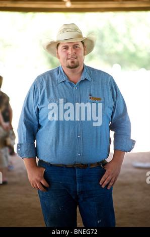 Farmer Cowboy at Lyndon B. Johnson Historic Park and Ranch, Johnson City, Hill Country Texas, USA - Stock Image