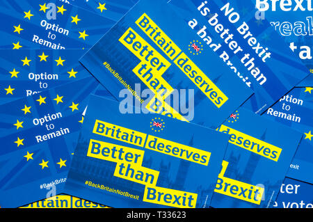 A collection of blue and yellow remainer anti-Brexit postcards say Britain deserves better than Brexit. - Stock Image
