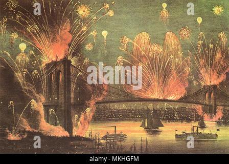 Fireworks at Brooklyn Bridge. New York City. - Stock Image