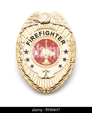 Gold Fire Department Badge Isolated on White. - Stock Image