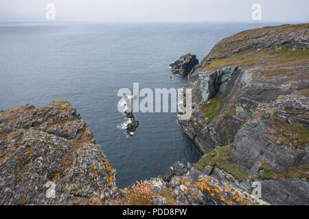 Rocky costline with ocean view - Ireland - Stock Image