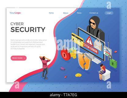 Hacker Phishing Activity Isometric Concept - Stock Image