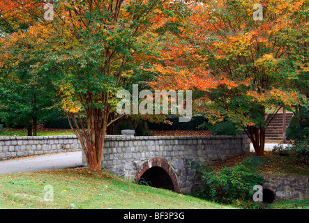 Stone bridge with fall colored trees at Oakwood cemetery in Raleigh, NC - Stock Image