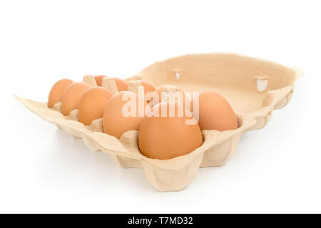 Pack of large brown hen eggs with cardboard box wide angle view isolated on white - Stock Image