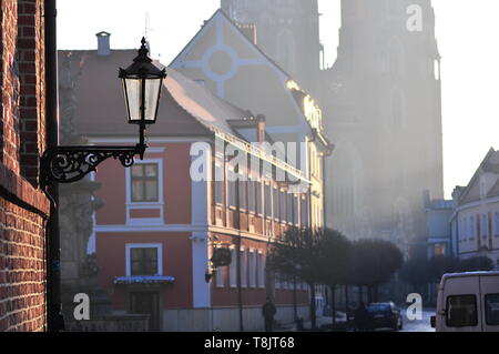 Wroclaw, Poland, March 2019.. Street lamp lantern in Wroclaw catholic old town Ostrow Tumski. with cathedral in the back - Stock Image