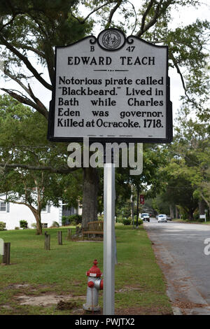 Edward Teach the notorious pirate called Blackbeard lived in Bath, North Carolina for a time. - Stock Image