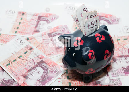 UK currency, 50 pounds - Stock Image