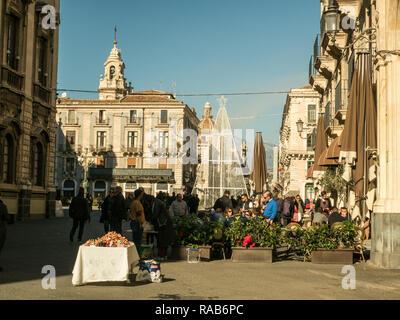 City of Catania, Sicily, Italy. View from street Via Etnea towards Piazza Universita. - Stock Image