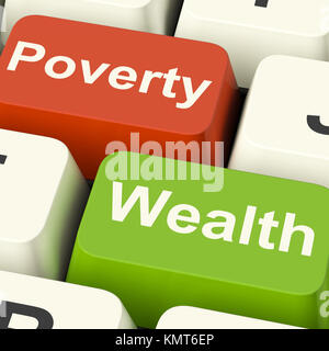 Poverty And Wealth Computer Keys Showing Rich Against Poor - Stock Image