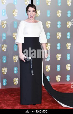 London, UK. 10th Feb, 2019. LONDON, UK. February 10, 2019: Olivia Colman arriving for the BAFTA Film Awards 2019 at the Royal Albert Hall, London. Picture: Steve Vas/Featureflash Credit: Paul Smith/Alamy Live News - Stock Image