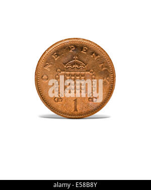 Front on shot of an old one penny coin - Stock Image