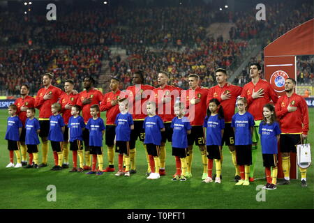 BRUSSELS, BELGIUM – MARCH 21, 2019: Russia's players line up ahead of their UEFA Euro 2020 qualifying football match against Belgium at King Baudouin Stadium. Anton Novoderezhkin/TASS - Stock Image