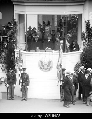 Franklin D. Roosevelt - Franklin D. Roosevelt inauguration. Parade viewing stand. Washington, D.C. March 4, 1933 - Stock Image