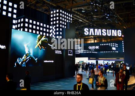 Samsung exhibit booth display entrance, featuring QLED 8K TV (television) at CES, world's largest consumer electronic show, Las Vegas, NV, USA - Stock Image