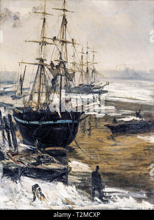 James McNeill Whistler,  The Thames in Ice, painting, 1860 - Stock Image
