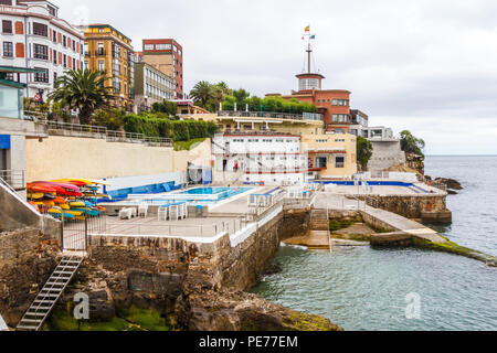 Gijon, Spain - 6th July 2018: Real Club Astur de Regatas Gijón. The yacht club was established in 1911 and is the oldest in Asturias. - Stock Image