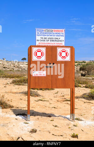Life safety belt float cabinet at the love Bridge site, Ayia Napa, Cyprus October 2018 - Stock Image