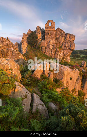 Abadoned ancient chapel built into the rocky outcrop at Roche Rock, Cornwall, England. Summer (July) 2017. - Stock Image